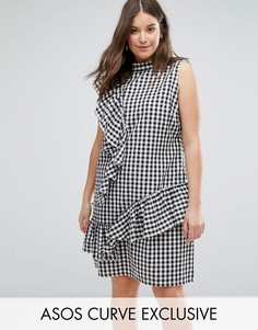 Платье в клетку с оборками ASOS CURVE EXCLUSIVE - Мульти