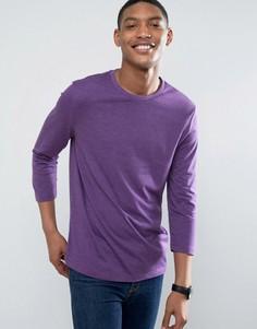 Фиолетовая футболка с рукавами 3/4 ASOS - Фиолетовый