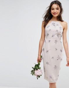 Платье миди с драпировкой сзади ASOS WEDDING - Мульти