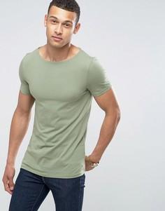 Стретчевая футболка с вырезом лодочкой ASOS - Зеленый