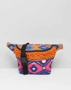 Фестивальная сумка-кошелек на пояс с вышивкой и помпонами Park Lane - Мульти