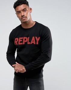 Свитшот с логотипом Replay - Черный