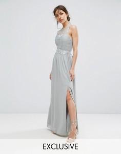 Кружевное платье макси с поясом Little Mistress - Серый