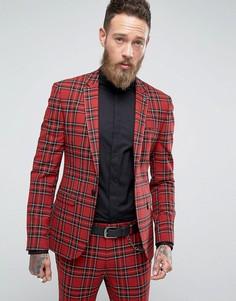 Супероблегающий пиджак в клетку тартан ASOS - Красный