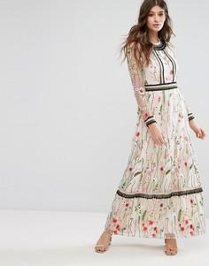 Платье макси с вышивкой Miss Selfridge - Белый