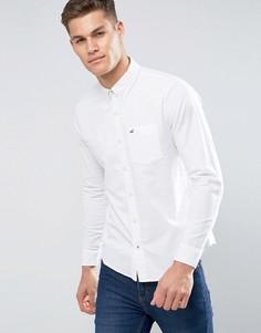 Белая узкая оксфордская рубашка с логотипом Hollister - Белый