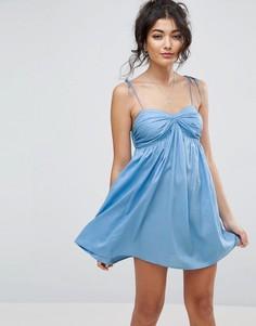 Пляжное платье из шамбре на бретельках ASOS - Синий