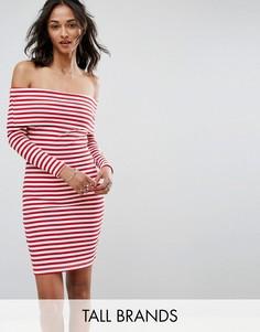Платье в полоску с открытыми плечами Parisian Tall - Белый