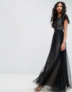 Платье с кружевным топом Needle & Thread Primrose - Черный