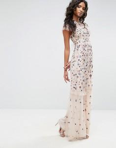 Платье с цветочной вышивкой Needle & Thread - Розовый