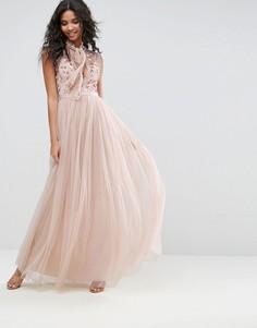 Платье с цветами на топе Needle & Thread - Розовый