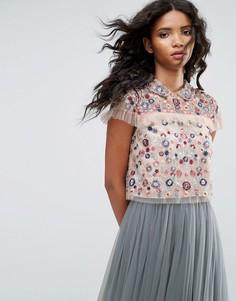 Кроп-топ с цветочной вышивкой Needle & Thread - Розовый