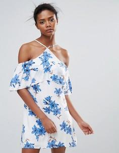 Платье с халтером и цветочным принтом Parisian - Белый
