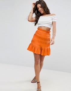 Присборенная мини-юбка ASOS - Оранжевый