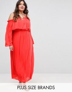Платье макси с рукавами‑кимоно Boohoo Plus - Красный