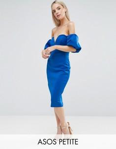 Платье миди с открытыми плечами и пышными рукавами ASOS PETITE - Синий