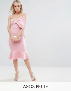 Платье миди с бантом и оборкой ASOS PETITE - Розовый
