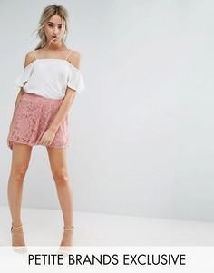 Кружевные шорты Missguided Petite - Розовый