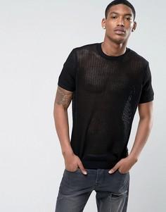 Черная сетчатая футболка ASOS - Черный