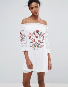 Платье со спущенными плечами и вышивкой Parisian - Белый