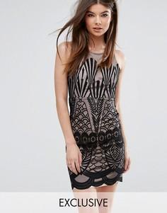 Платье мини с кружевной отделкой Love Triangle - Черный