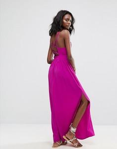 Платье макси с глубоким вырезом Boohoo - Фиолетовый