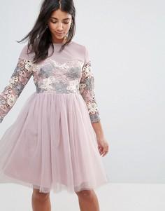 Короткое приталенное платье с длинными рукавами, отделкой и юбкой из тюля Amy Lynn Occasion - Темно-синий
