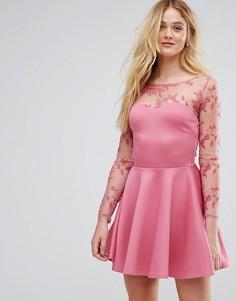 Короткое приталенное платье с кружевной отделкой City Goddess - Розовый