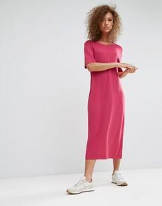 Платье-футболка макси Weekday - Розовый