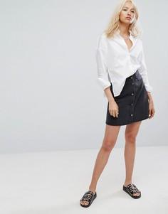 Расклешенная джинсовая юбка на пуговицах Noisy May - Черный