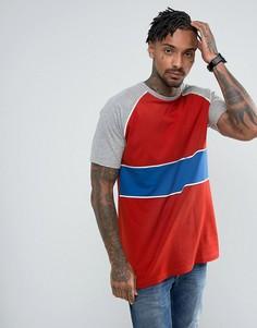 Красная длинная футболка в стиле колор блок ASOS - Красный