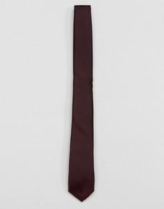 Узкий бордовый галстук ASOS - Красный