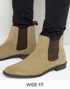 Бежевые замшевые ботинки челси для широкой стопы ASOS - Светло-серый
