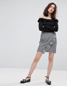 Клетчатая мини-юбка с оборкой Plain Studios - Черный