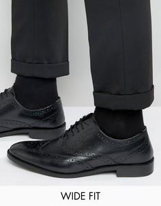 Черные оксфордские туфли-броги из кожи для широкой стопы ASOS - Черный