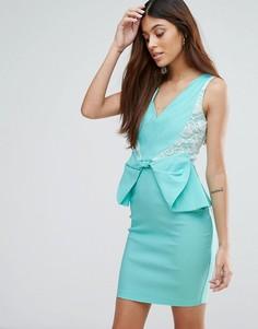 Платье мини с баской Vesper - Зеленый