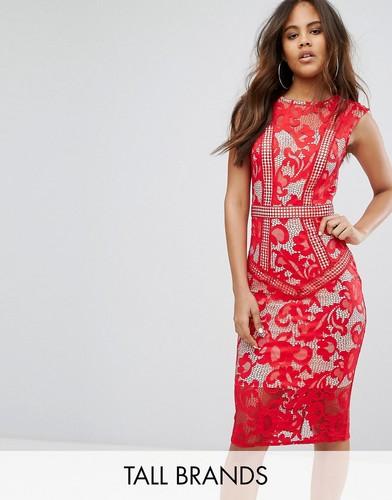 Платье миди с кружевными вставками Little Mistress Tall - Красный