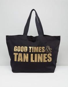 Дорожная сумка-тоут из органического хлопка с принтом Good Times And Tan Lines Crazy Haute - Черный