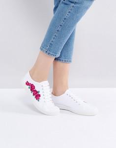 Кеды на шнуровке с цветочной вышивкой Kaltur - Белый