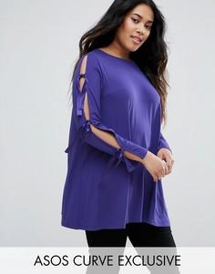 Топ с завязками на рукавах ASOS CURVE - Фиолетовый