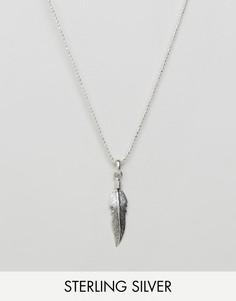 Серебряное ожерелье с подвеской-пером DesignB эксклюзивно для ASOS - Серебряный