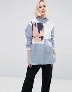 Рубашка с принтом на вставке и оборкой ASOS WHITE - Мульти