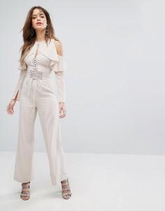 Телесные широкие брюки со шнуровкой Lavish Alice - Розовый