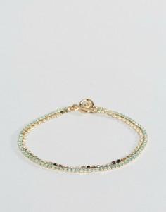 Тонкий браслет-цепочка ограниченной серии с камнями - Синий Asos