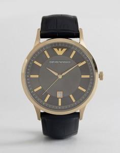 Часы 43 мм с черным кожаным ремешком Emporio Armani AR11049 - Черный