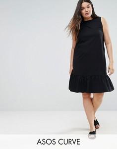 Свободное платье без рукавов с асимметричным краем ASOS CURVE - Черный