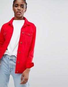 Длинная цветная джинсовая куртка New Look - Красный