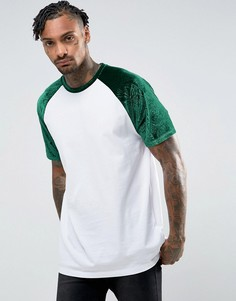 Свободная футболка с бархатными рукавами реглан с тисненым цветочным рисунком ASOS - Белый
