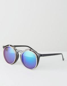 Круглые солнцезащитные очки с зеркальными стеклами Jeepers Peepers - Черный