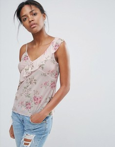 Топ с цветочным принтом и асимметричной оборкой New Look - Розовый